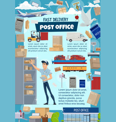 Postal service with mail delivery details vector