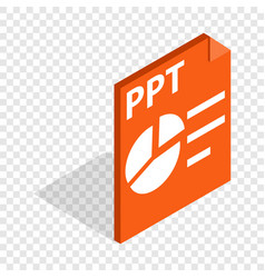 Ppt file extension isometric icon vector