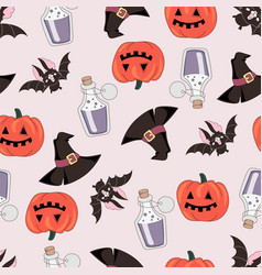 Pumpkin and bat halloween seamless pattern vector