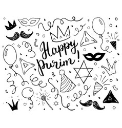 purim sketch doodles hand drawn set traditional vector image