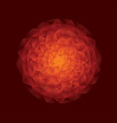 red hot abstract sun mandala geometric pattern vector image