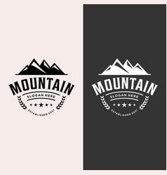 Retro and elegant restaurant mountain logo vector