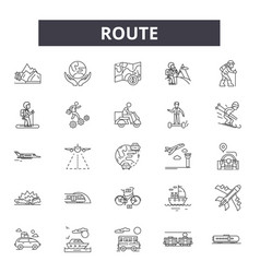 Route line icons signs set linear vector