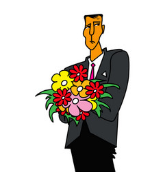 sad man with a bouquet flowers vector image