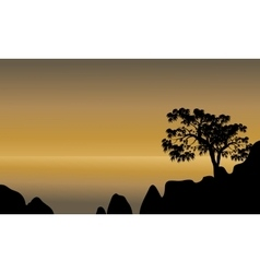 Scenery beach of silhouette vector