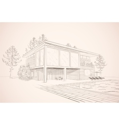sepia sketch of house with swimming pool vector image