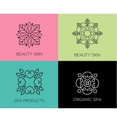 set abstract lineart linear simple design vector image
