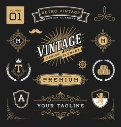 set retro vintage graphic design elements vector image