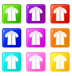 shirt polo set 9 vector image