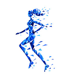 Silhouette of running woman of polygonal particles vector