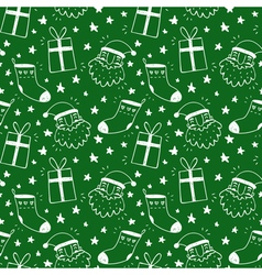 Sketchy seamless pattern with Santa Claus socks vector