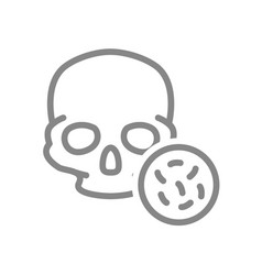 skull with bacteria line icon bones head vector image