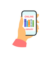 Smartphone in your hand concept online library vector