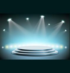 spotlights illuminates a round stage vector image