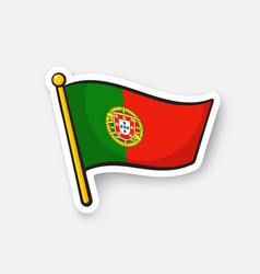 sticker flag portugal on flagstaff vector image