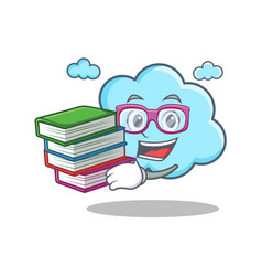 student with book cute cloud character cartoon vector image