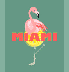 T-shirt print with miami lettering sun and pink vector