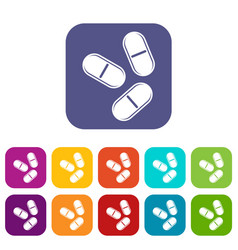 Three pills icons set flat vector