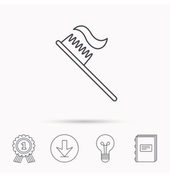 Toothbrush icon Toothpaste sign vector