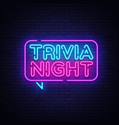 trivia night announcement neon signboard vector image