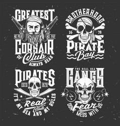 Tshirt prints with pirate skull or face in bandana vector