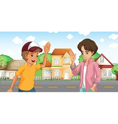 Two boys meeting across big houses at road vector