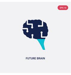Two color future brain icon from artificial vector