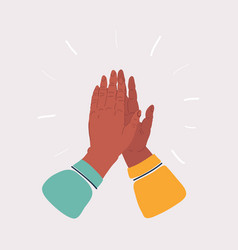 Two hands giving a high five on white vector