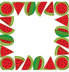watermelon fruit frame empty template vector image