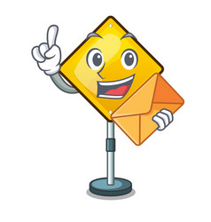 with envelope warning attention sign shaped vector image