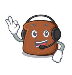 with headphone brown bread mascot cartoon vector image