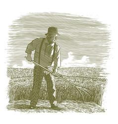 woodcut wheat farmer original vector image