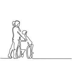 Young woman push the old man on wheelchair vector