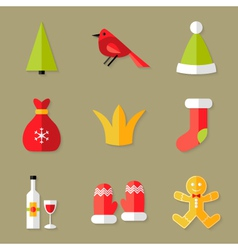 9 Christmas Icons Set 6 vector image