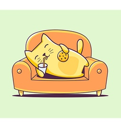color character cat lying on the sofa wit vector image