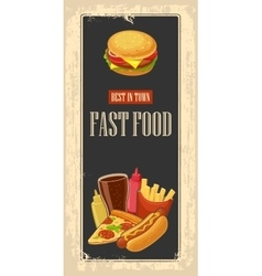 Fast food poster with vintage background set icon vector