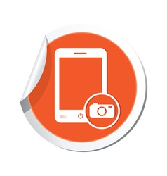 phone camera icon orange sticker vector image vector image