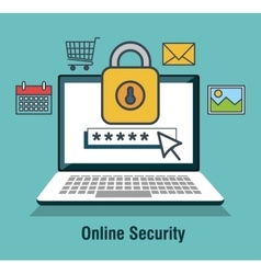 protecting computing code security desing isolated vector image