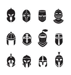 Warrior helmets black icons or logos set Knight vector image vector image