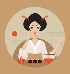 beautiful japan travel banner with geisha sushi vector image
