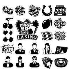 Black casino icons set vector