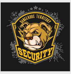 bulldog head mascot - security emblem vector image