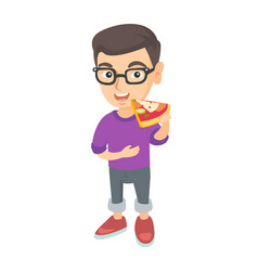 caucasian boy in glasses eating tasty pizza vector image
