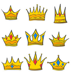 crown elegant style set collection doodle vector image vector image