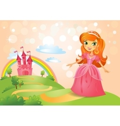 Fairy Tale castle and Beautiful princess vector image vector image