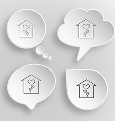 Flower shop white flat buttons on gray background vector