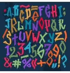 Graffity grunge color font alphabet vector image