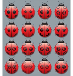 ladybug symbols vector image vector image