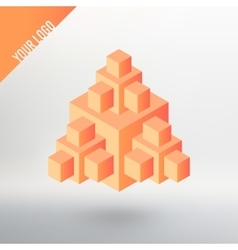 Logo orange cube with many other cubes vector