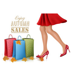 Shopping woman wearing red dress and high heel vector image vector image